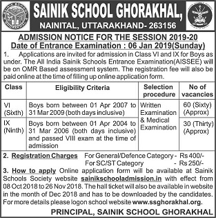 Sainik School Admission 2018 Class VI & IX, Sainik School Entrance Exam 2019