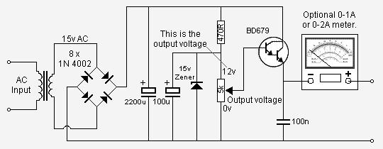 Circuit panel: HANDY 0 12V DC POWER SUPPLY ELECTRONIC DIAGRAM