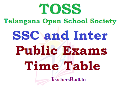 TOSS, SSC Inter,Exams Time Table