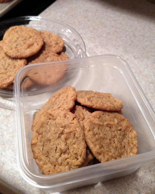 Put baked cookies in a Ziploc container for sharing