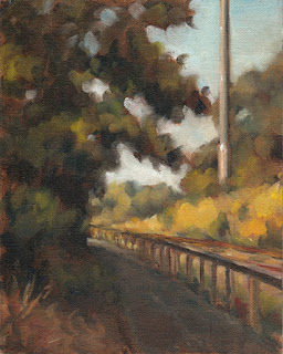 Landscape oil painting of trees overhanging a path with train tracks running beside.