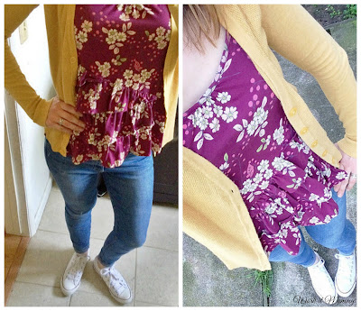 floral and mustard cardigan