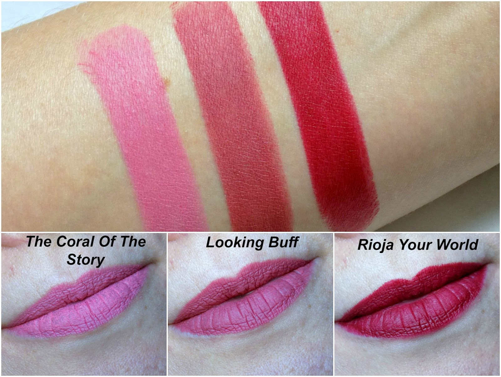 Seventeen Mega Matte Lipsticks swatches, Coral of the Story, Looking Buff, Rioja Your World