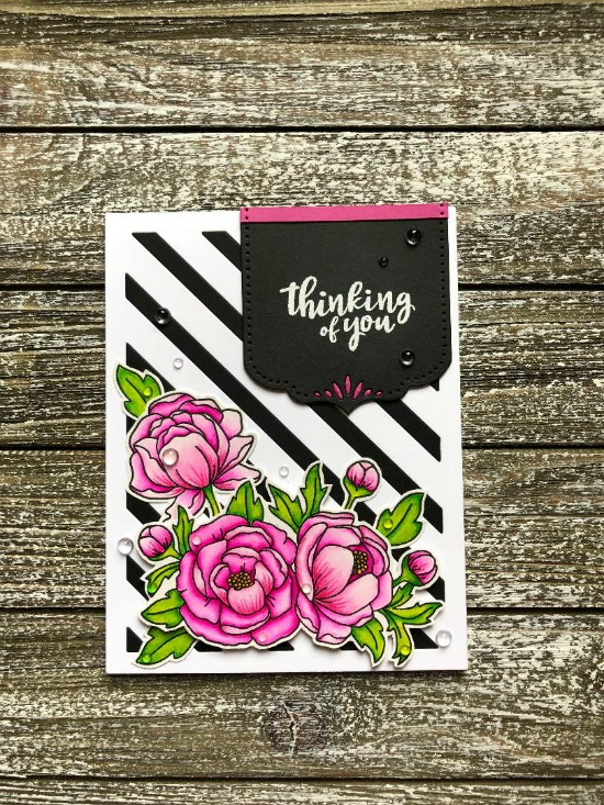 Thinking of You Card by June Guest Designer Megan Quinn   Peony Blooms Stamp Set by Newton's Nook Designs #newtonsnook #handmade