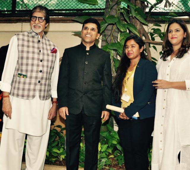 (L-R) Mr. Amitabh Bachchan, Mr. Anand Pandit, Shraddha Thorat & Meghna Ghai Puri