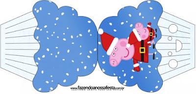 Tarjeta con forma de cupcake de Peppa Pig en Navidad.