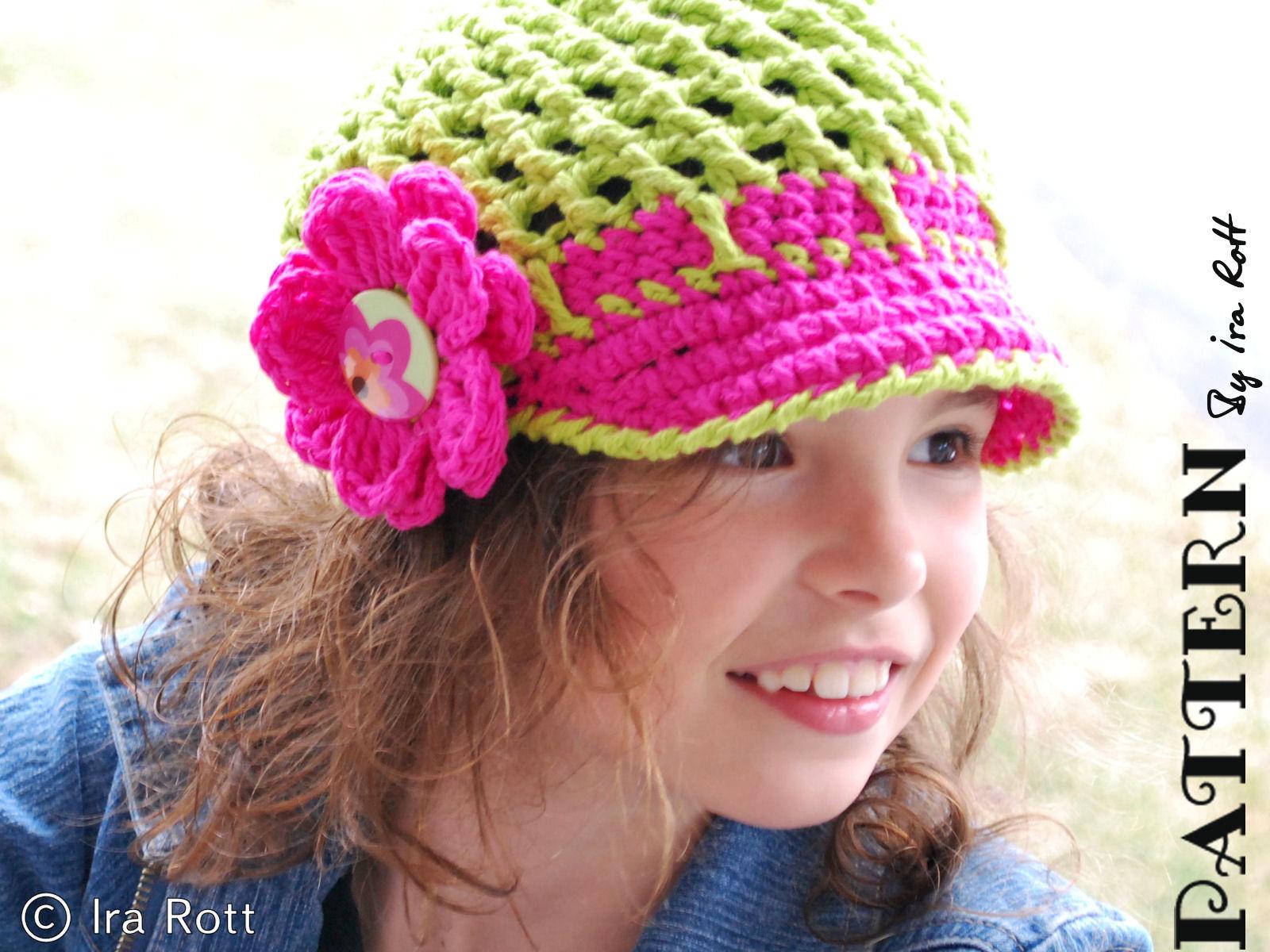 Fashion Crochet Design By Ira Rott  Spring News Boy Hat - Cap With ... 7873615c0