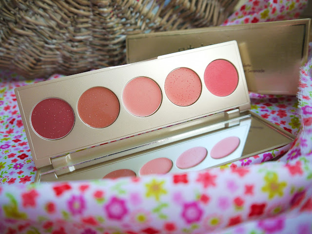 gold palette with five pans of pink, coral, peach, caramel, and brown cream blushes