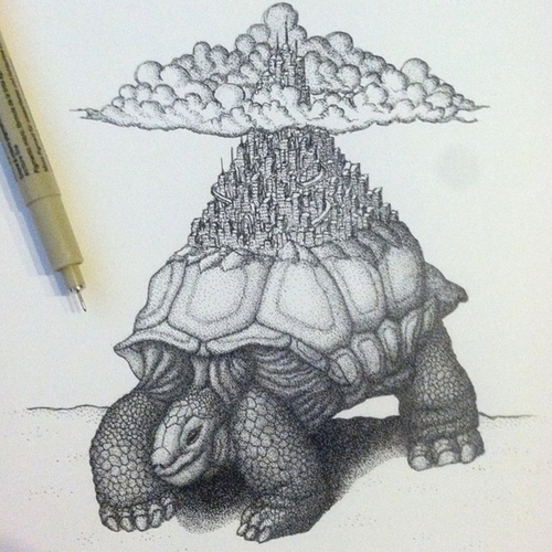 09-Yertle-the-Turtle-Kyle-Leonard-Miniature-Drawings-of-Human-and-Environment-Struggle-www-designstack-co
