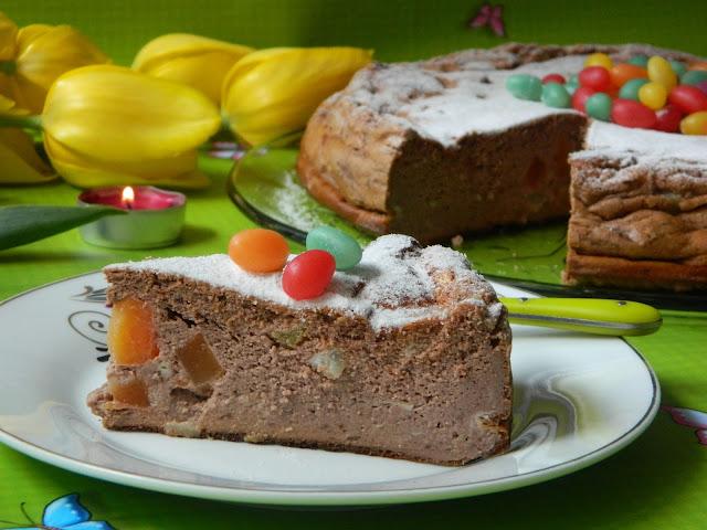 Pasca cu ciocolata si fructe tropicale