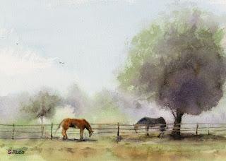 春 (牧場) くどうさとし水彩画