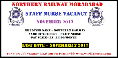Northern Railway Moradabad Division Staff Nurse Vacancy November 2017