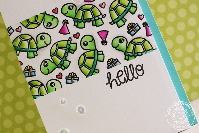 Sunny Studio Stamps: Turtley Awesome Turtle Party Card by Eloise Blue
