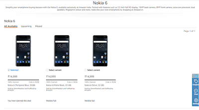 Nokia 6 Sold Out on Amazon.in