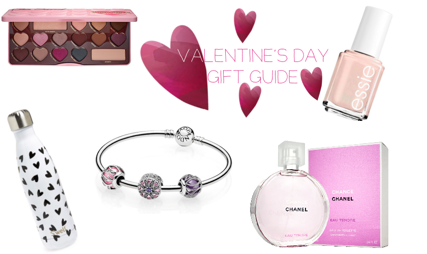 bbloggers, bbloggersca, canadian beauty bloggers, valentines day, gift guide, 2017, too faced chocolate bon bons palette, sephora, chanel chance eau tendre, s'well, water bottle, hearts, pandora charm bracelet, essie, just stitched