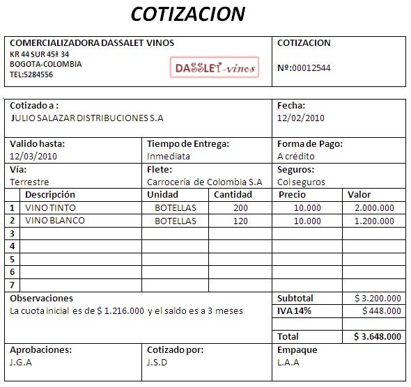 formato para cotizacion en word