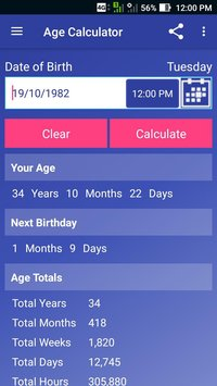 FREE ANDROID APPS : Real Age calculation App for Android / Find your Age