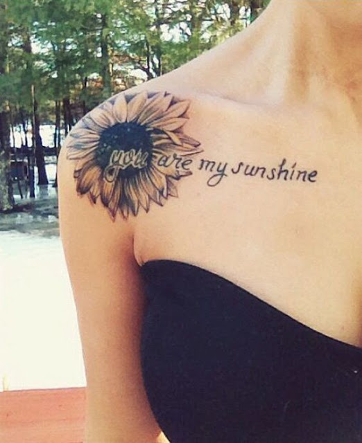 Sunflower Collar Bone Tattoos For Women