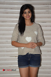Actress Model Shamili (Varshini Sounderajan) Stills in Denim Shorts at Swachh Hyderabad Cricket Press Meet  0009.JPG