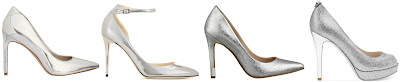 One of these pairs of silver pumps is from Jimmy Choo for $775 and the other three are under $100. Can you guess which one is the designer pair? Click the links below to see if you are correct!