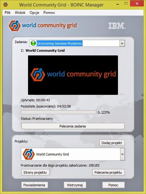 Interfejs graficzny Boinc - World Community Grid - Widok uproszczony