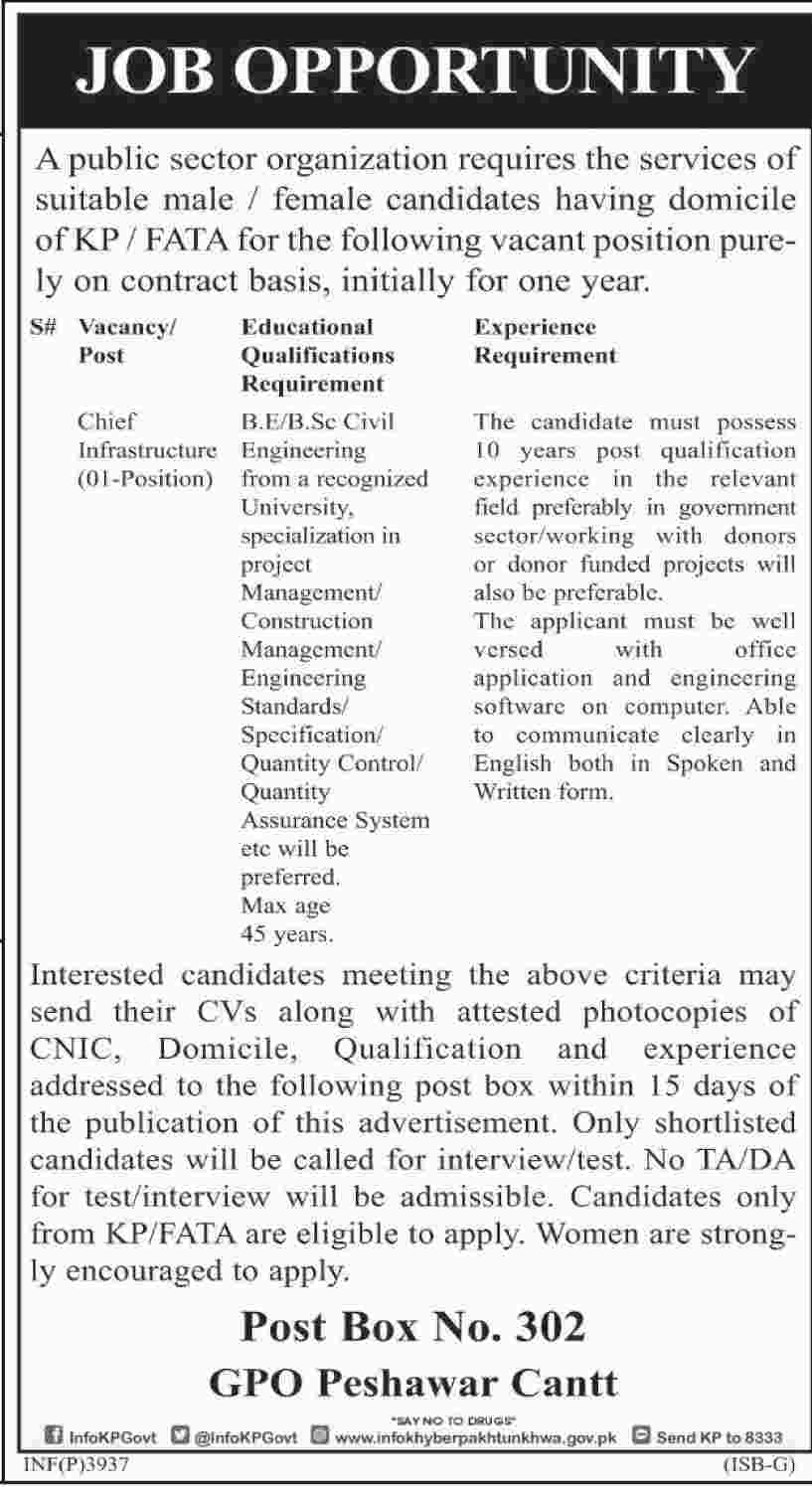 Jobs In Public Sector Organization Peshawar Aug 2017