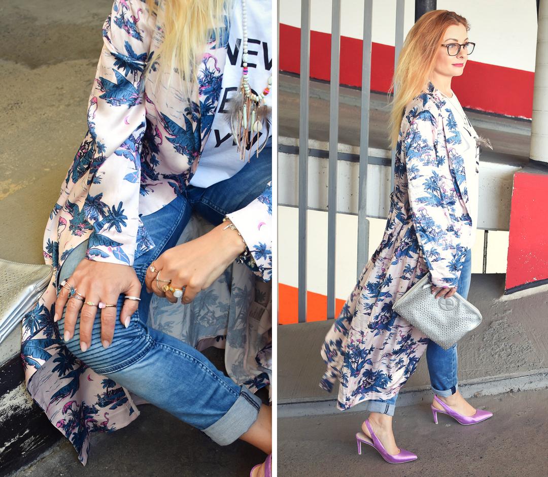 Look mit Kimono, Streetstyle mit Kimono, Pumps in Pink