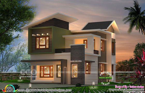 1773 square feet 3 bedroom slanting roof home