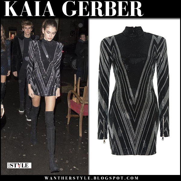 Kaia Gerber in black sequin balmain mini dress and black boots fashion week outfit january 22