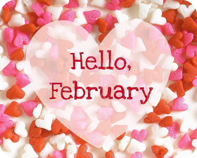 Hello, February card with colorful candy hearts