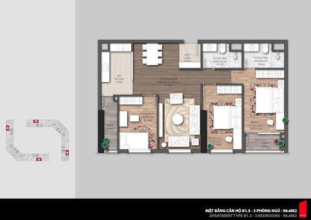 Thiết kế căn hộ B1.3 - 96,6m2 chung cư The Emerald