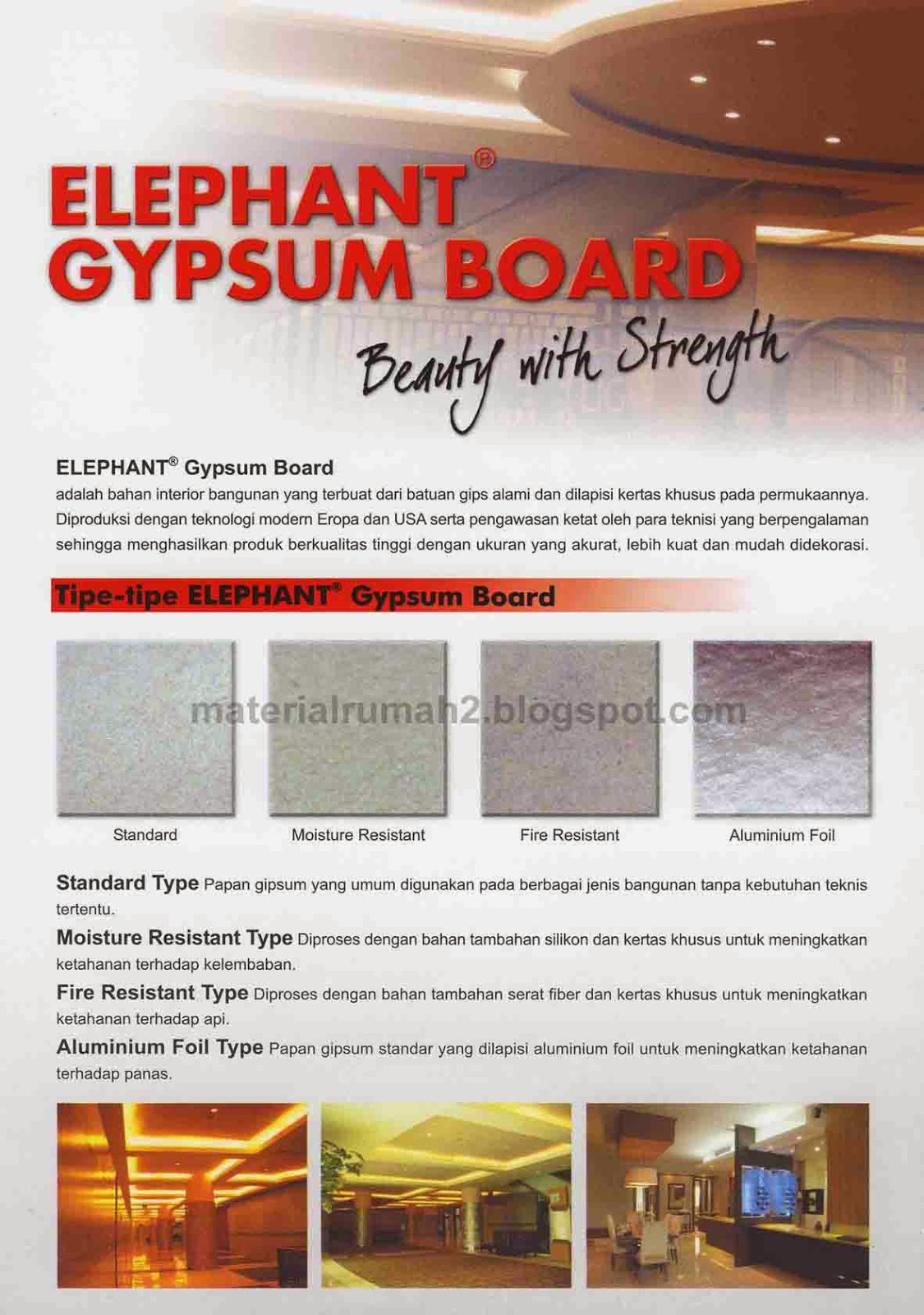Tipe Produk ELEPHANT GYPSUM BOARD