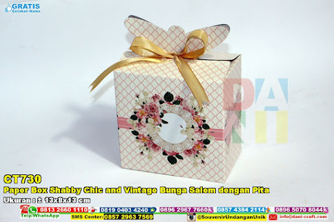 Paper Box Shabby Chic And Vintage Bunga Salem Dengan Pita