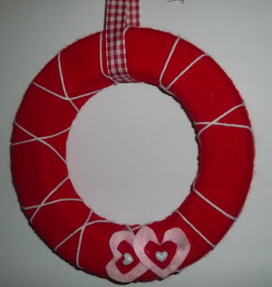 Handmade Valentine Yarn Wreath