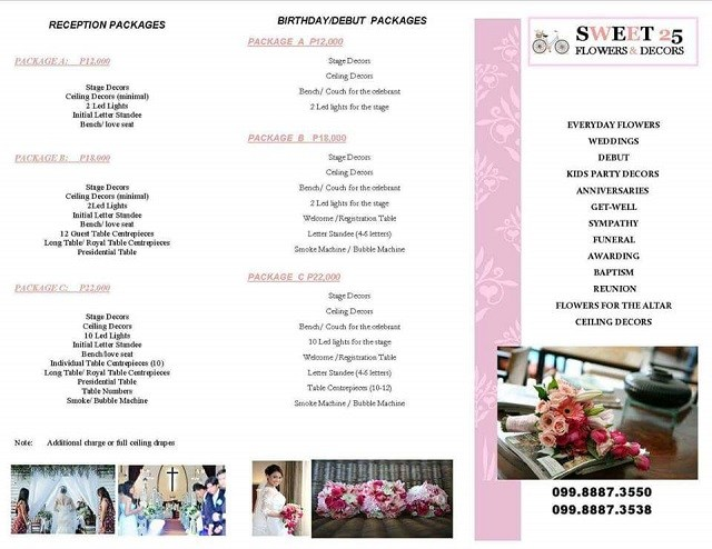 Sweet 25 package page 2 price list