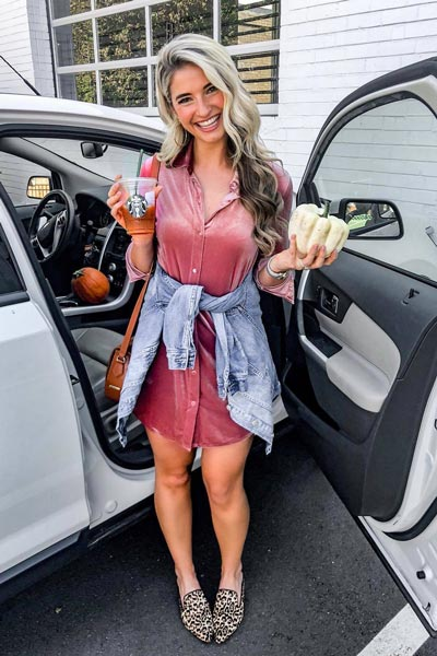 17 Fresh Fall Fashion Outfits To Update Your Closet In 2018 | Mini Dress in Blush+ Steve Madden Women's Loafer