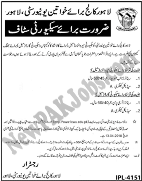 New April 2018 Jobs in Lahore College for Women University