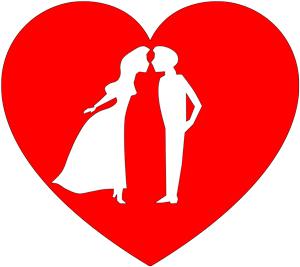 Imagen de una pareja dentro de un corazón rojo