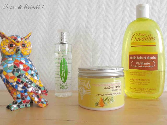 Eau de parfum Ylang Ylang Le Comptoir des Parfums - Masque cheveux à la sève d'olivier et au lait d'acacia Le Petit Marseillais - Huile bain et douche vivifiante aux huiles de sésame et cédrat Rogé Cavaillès