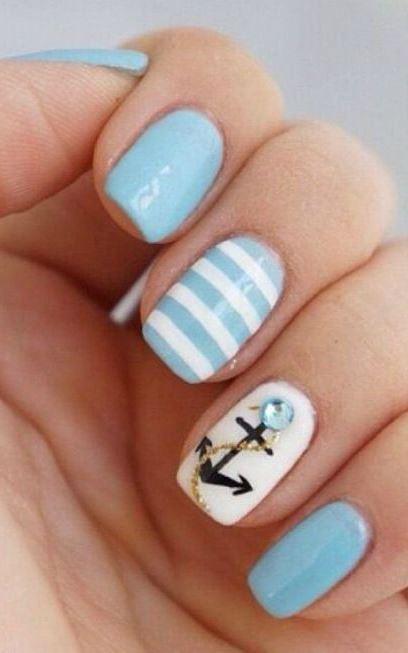 26 Cute Anchor Nail Art Designs