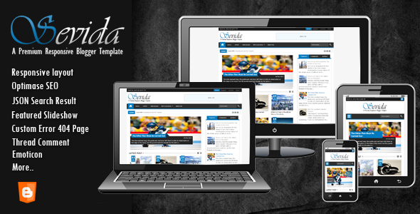 Free Download Sevida Responsive Premium Blogger Template  Gratis