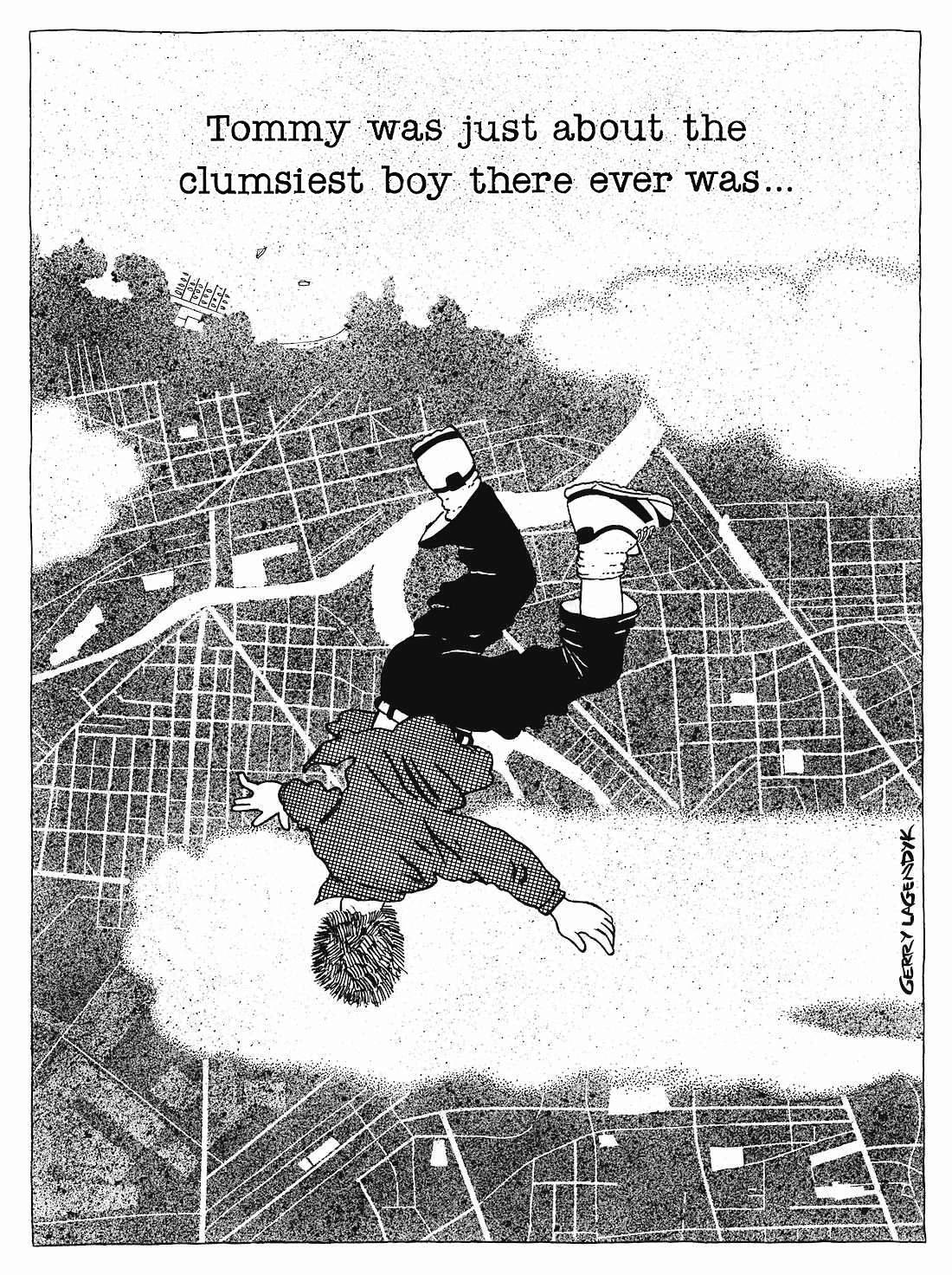 Clumsy Boy cartoon, Gerry Lagendyk, falling from sky