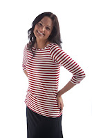 Red and white striped 3/4 length sleeve top