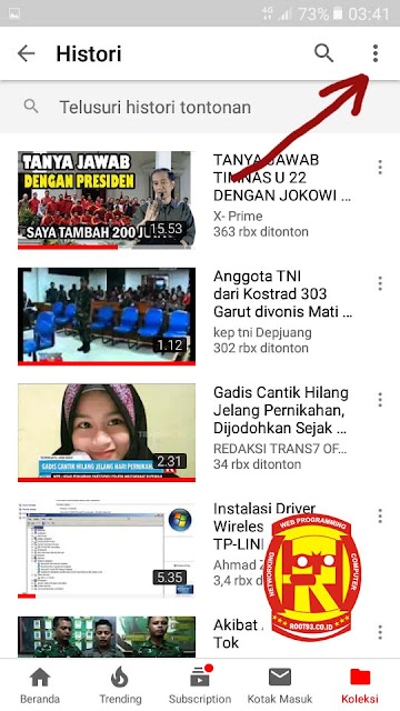 menampilkan histori tontonan video youtube