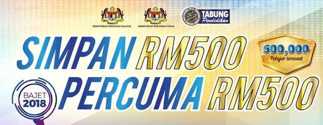 SSPN - Simpan RM500 Percuma RM500