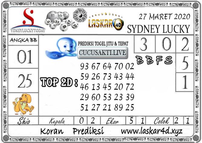 Prediksi Sydney Lucky Today LASKAR4D 27 MARET 2020