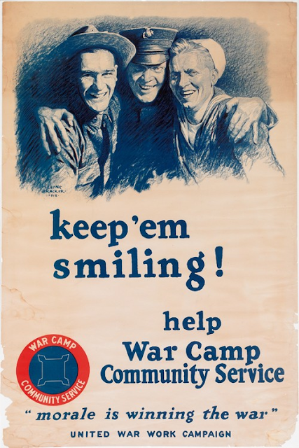 "World War 1 poster ""Keep 'em smiling!"" by M. Leone Bracker"