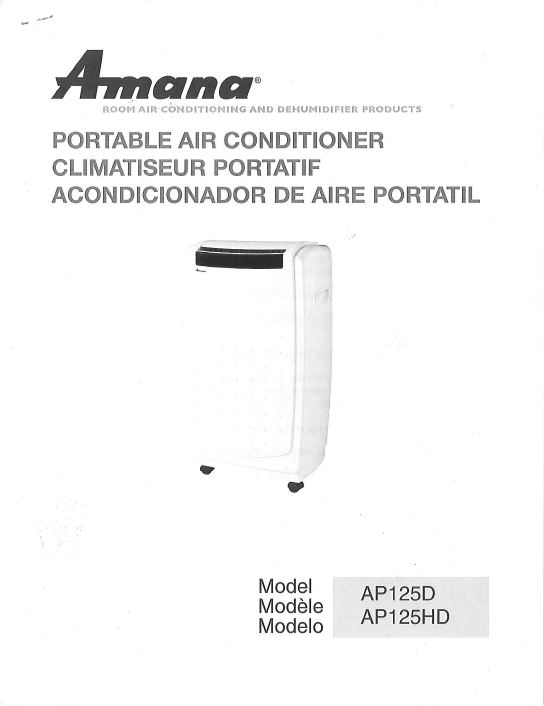 amana portable airconditioner - ap125hd