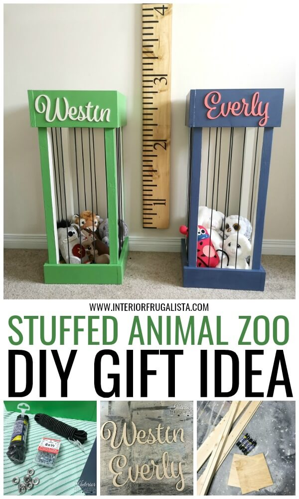 These DIY Stuffed Animal Zoos are a cute idea for kids rooms to keep their stuffies corralled in one place, a great gift idea that is simple to make. #stuffedanimalzoo #childrensroomstorage #kidsroomstorageideas #toystorage