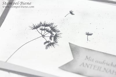 Trauerkarte mit Pusteblume; Karte Anteilnahme; Trauerkarten basteln; Stampin Up Trauerkarte; Stempel-Biene; Stampinup Bestellen